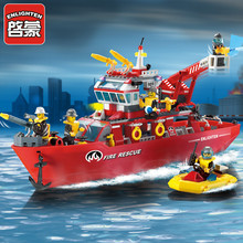 ENLIGHTEN 361Pcs City Police Fire Rescue Boat Crane Ship Model Building Blocks Bricks Toys for Children