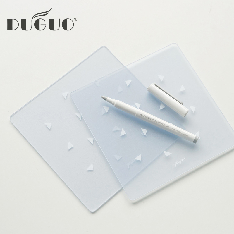 DUGUO Cute Stationery Mini Square Transparent PVC Cutting Pad Writing Engraving Anti-cutting Pad Hand Tape Hand-cut Cardboard