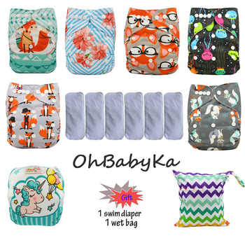 Ohbabyka Pocket Diaper Washable Reusable Diapers Baby Cloth Nappies Waterproof Diaper Cover 6pcs+6pcs Microfiber Inserts - DISCOUNT ITEM  20% OFF All Category