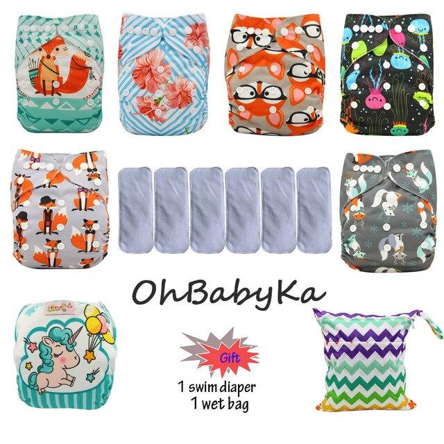 Ohbabyka couche de poche lavable réutilisable couches bébé couches en tissu imperméable couche couverture 6 pièces + 6 pièces microfibre Inserts