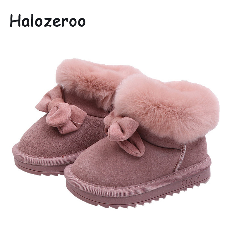 Halozeroo Winter New Baby Girl Snow Boots Toddler Bow Warm Shoes Children Genuine Leather Ankle Boots Boy Brand Pink Soft BootsHalozeroo Winter New Baby Girl Snow Boots Toddler Bow Warm Shoes Children Genuine Leather Ankle Boots Boy Brand Pink Soft Boots