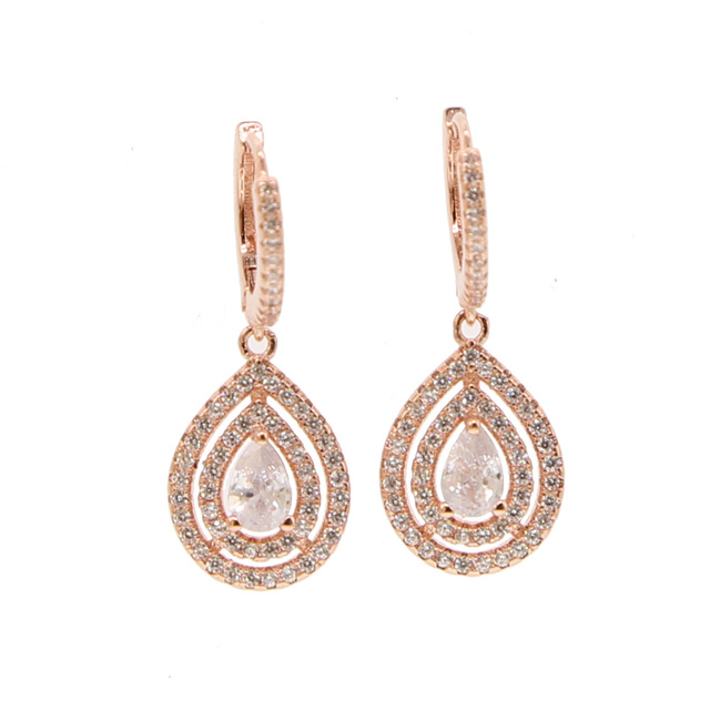 Silver Gold Rose Colors Cubic Zirconia Pear Shape Earring Wedding Engagement Jewelry Women