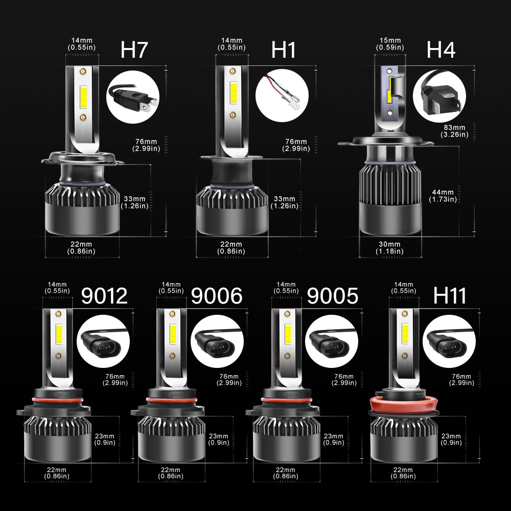 2PCS LED headlight 50W 10000LM high quality LED headlights H1 H4 H L H7 H8 H9 H11 9005 HB3 9006 HB4 9012 12V 24V in Car Headlight Bulbs LED from Automobiles Motorcycles