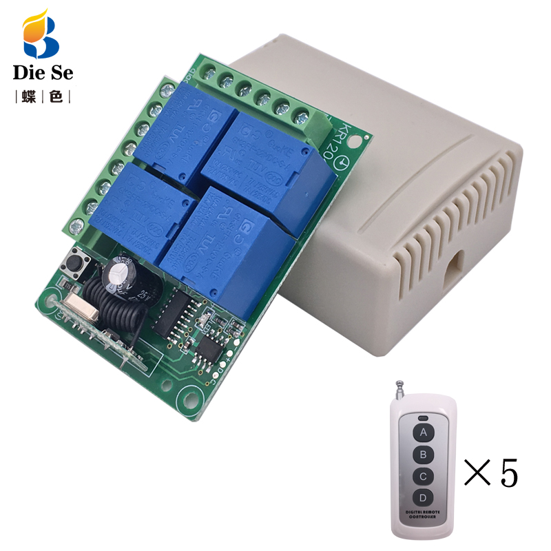 433MHz Universal Remote Control Relay 12V 4CH Relay Receiver Module RF 4 Button Remote Control Garage door light Switch title=