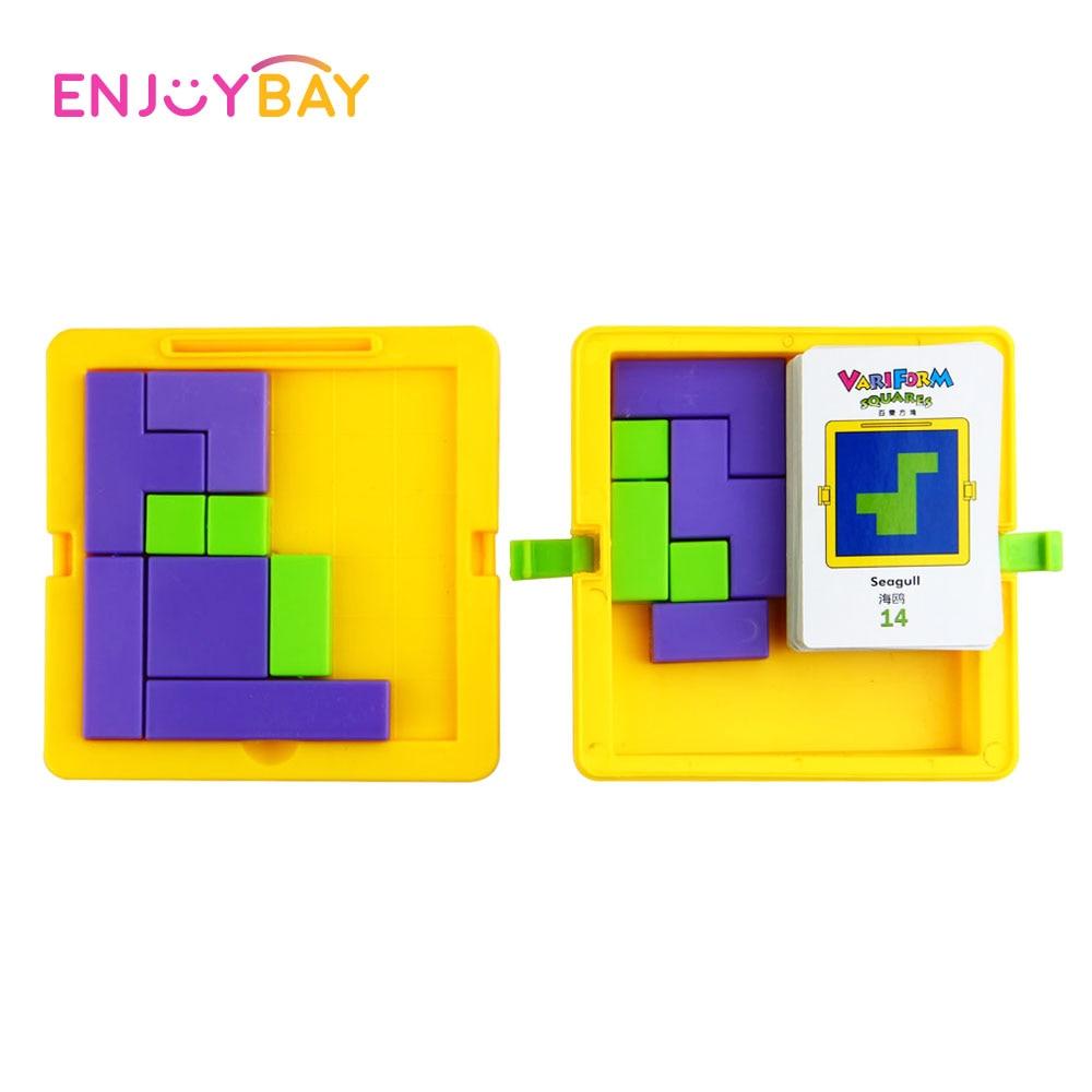 Enjoybay Plastic Tangram Puzzle Toys Kids Brain Teaser Games Puzzles Creative Geometric Board Jigsaw Magic Cube Educational Toys