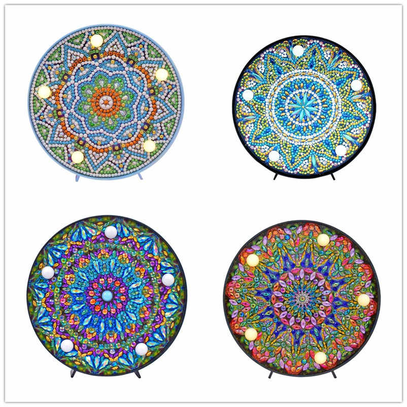 DIY Mandala LED Diamond Painting Light Cross Stitch Embroidery Full Drill Special Shaped Lamp Home Decoration Gift Night Lamp