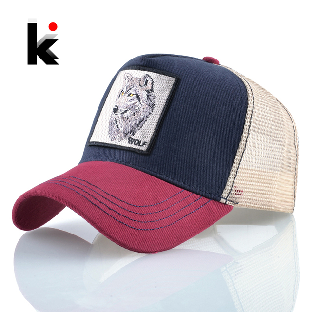 Men's Snapback Caps Summer Breathable Baseball Cap Women Cool Streetwear Wolf Embroidery Trucker Bones Unisex Hip Hop Hats Male
