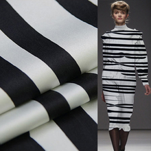 Black and white stripe print pure silk satin silk Charmeuse fabric thick 19momme 110cm,SSC262