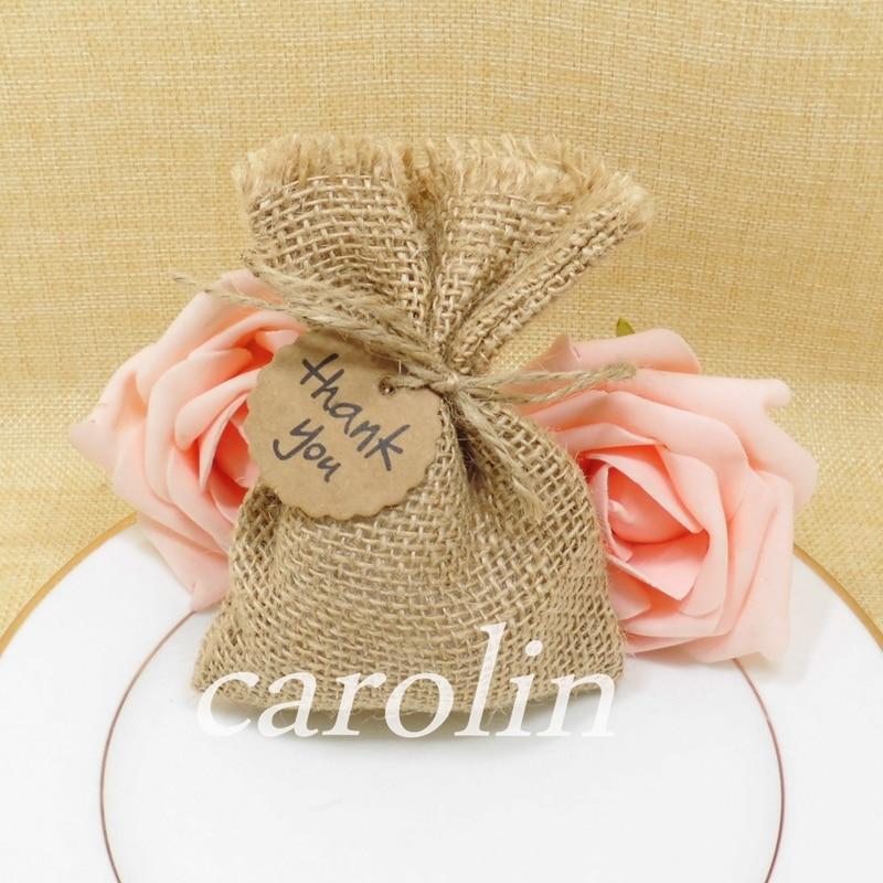 50pcs Burlap Bag Jute Gift Bags Candy Bag With Thank You Tag