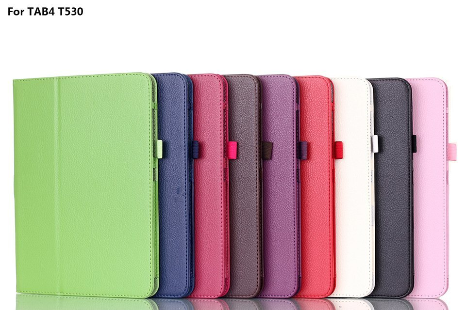 Case for TAB 4 T530 Litchi pattern PU Leather stand Case  for Samsung Galaxy Tab 4 10.1 T530 T531 T535 (SM-T530)