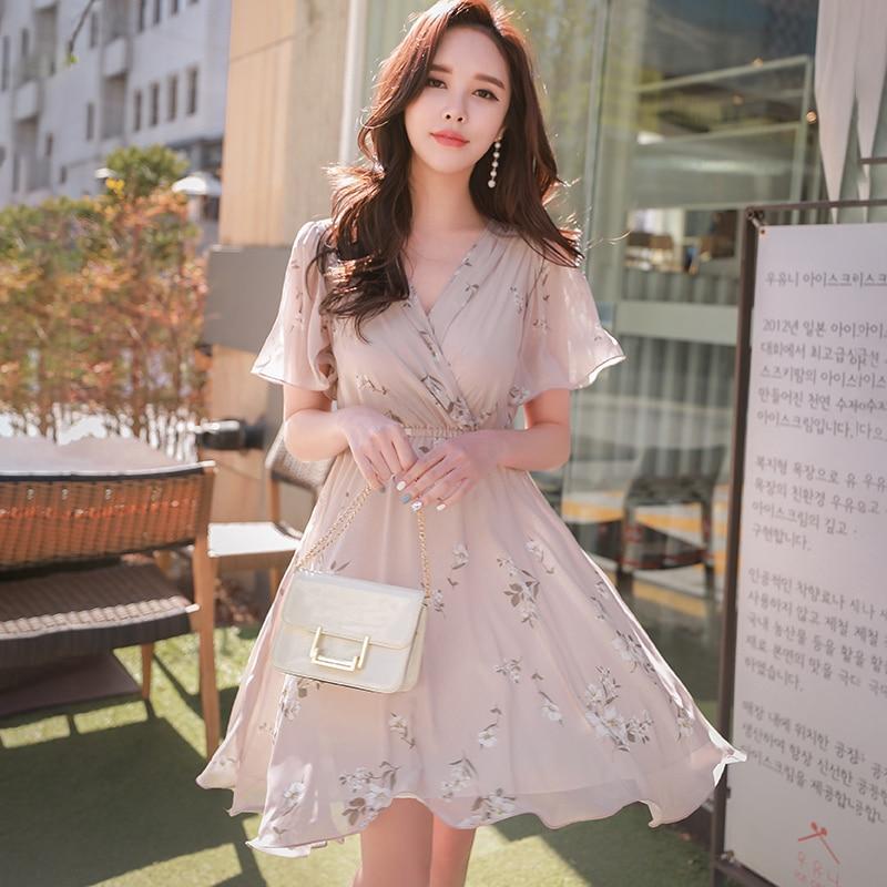 Dabuwawa Summer New Pink Floral Print Midi Dress Women Ladies Girls Elegant V Neck Ruffles Holiday