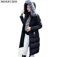 Winter Jacket Women S New Hair Collar Cotton Long Slim Down Cotton Thickened Korean Warm Hooded