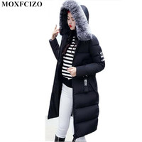 Winter Jacket Women S New Hair Collar Cotton Long Slim Down Cotton Thickened Korean Warm Hooded