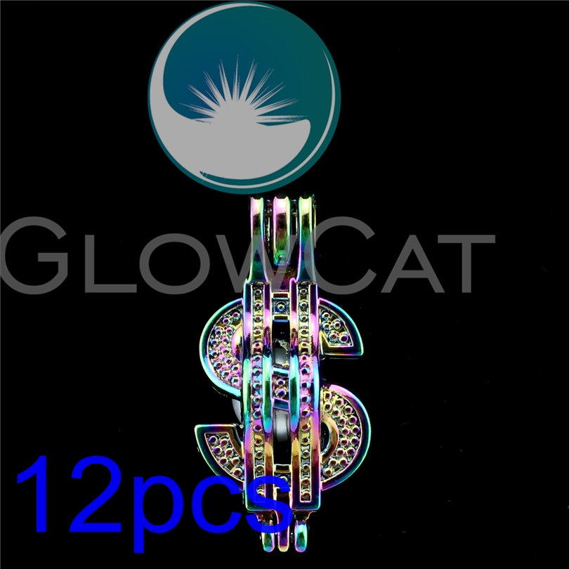 12x R C753 Rainbow American Dollar Sign Pearl Cage Jewelry Making Essential Oil Diffuser Beads Locket Pendant In Pendants From Accessories On