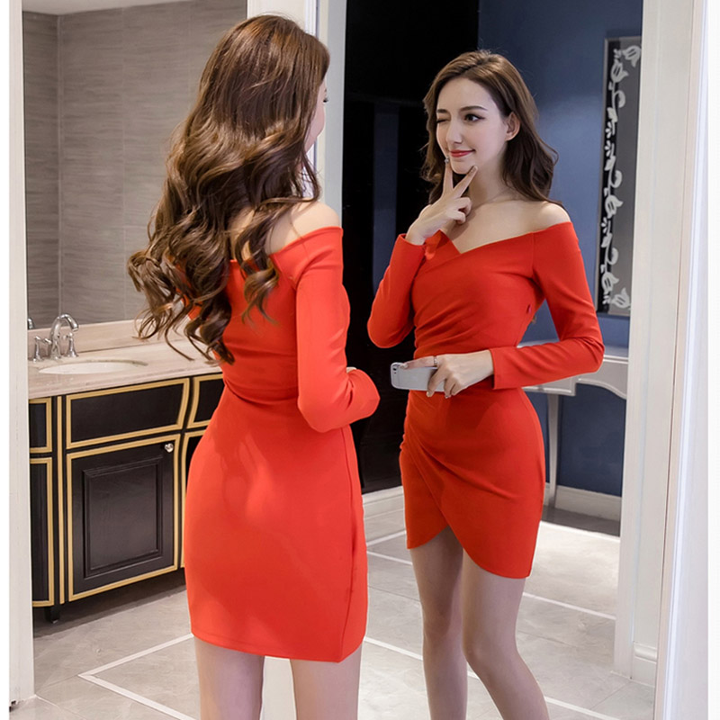 2019 Sexy Dress Women Fashion Slim Long sleeve Slash Neck Off Shoulder Dress Club Evening Party Deep V neck Modis Dresses Spring in Dresses from Women 39 s Clothing