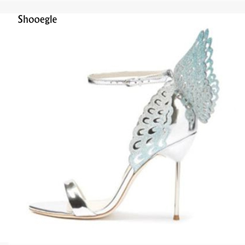 SHOOEGLE Celebrity Style Butterfly Wings Women High Heels Sandals Sexy Open Toe Ankle Strap Pumps Bridal wedding Party Shoes