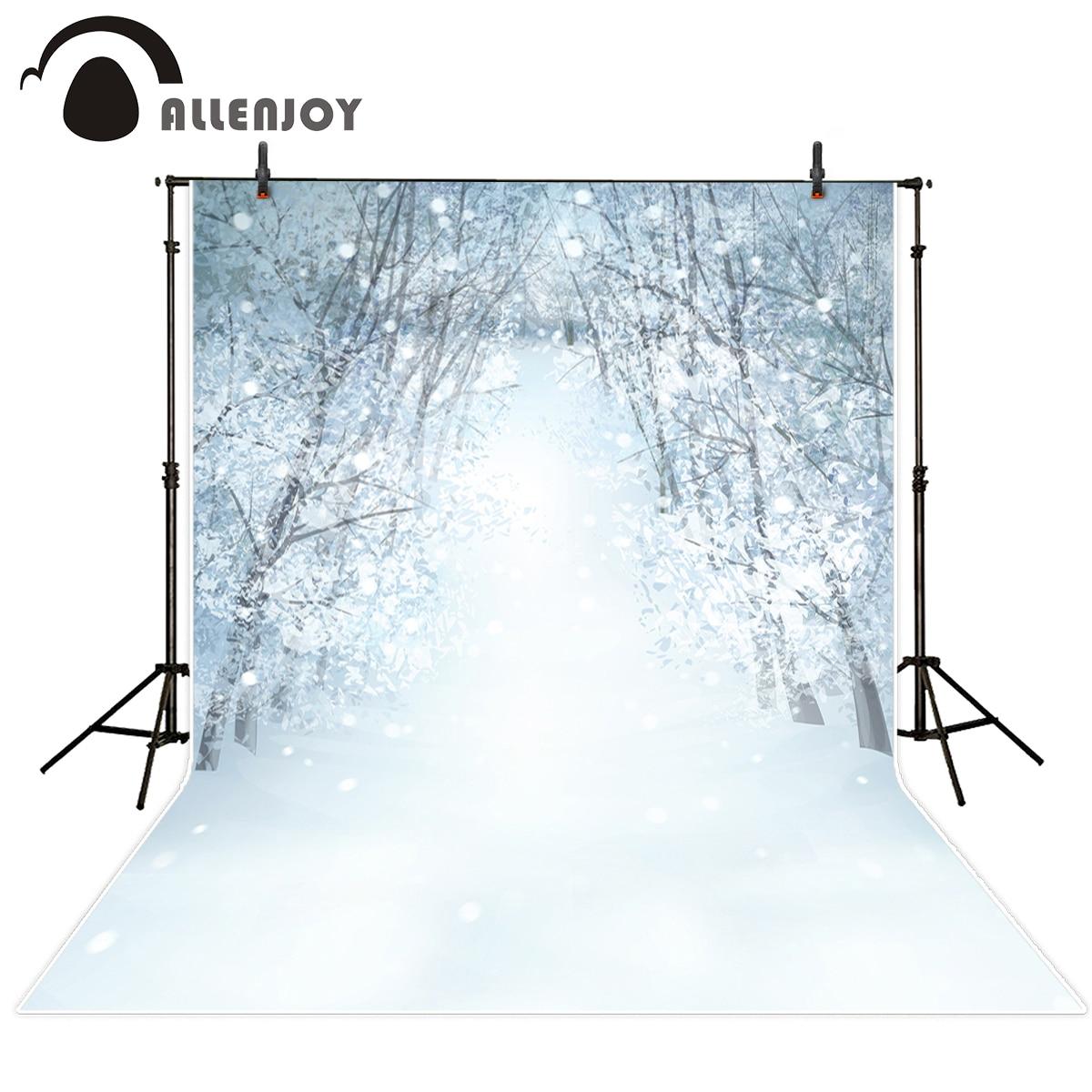 Allenjoy photography background snow forest Bokeh Winter Christmas theme backdrop professional photo background studio