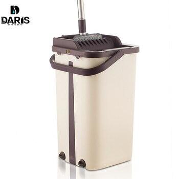 Плоская сжимающаяся половая тряпка и система ведра с ручным свободным отжимом сменная Швабра прокладки влажная или сухая для чистки листве... >> I-Daris Store