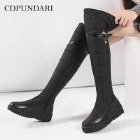 CDPUNDARI Down Plush Winter Snow Boots Women over the knee boots Ladies platform Thigh high boots boots Black