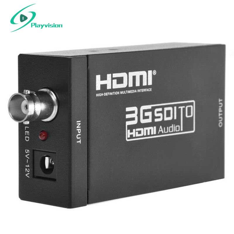 Prise en charge du convertisseur HSV190 SDI vers HDMI 1080 P 3G HD SD SDI pour la conduite des moniteurs HDMI avec adaptateur secteur prise EU US UK AU