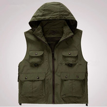 Men Multifunctional Quick-Drying Fly Fishing Vest Sleeveless Hooded Jackets Coats Outdoor Camping Clothes Photography Vest