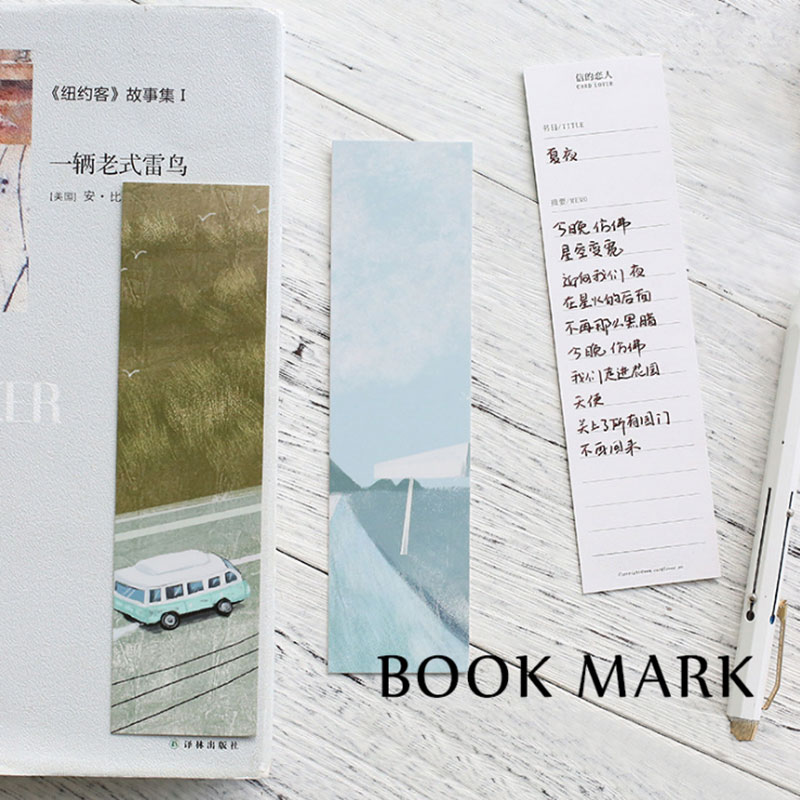 30 Pcs/box My Hometown Scenery Paper Bookmarks Kawaii Stationery Book Holder Message Card School Supplies Papelaria Kids Gifts