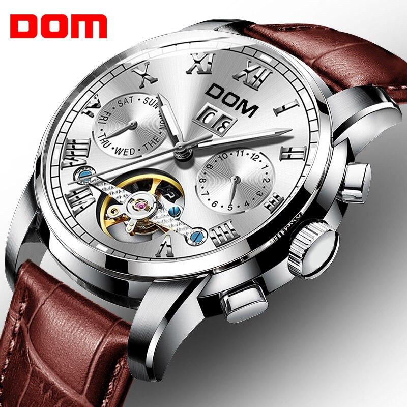 Новый Для мужчин спортивные часы мужской автоматический механические часы DOM Лидирующий бренд многофункциональный Сталь часы-браслет моло...