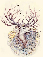 36X46cm DIY Full Drill Diamond Painting Cross Stitch Color Hand Painted Deer Printed Draw Picture Round