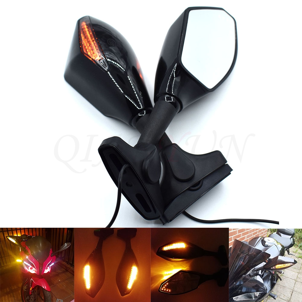 Universal Motorcycle Rear View Side Wing Mirrors w LED Turn Signal Light For YAMAHA YZF R25