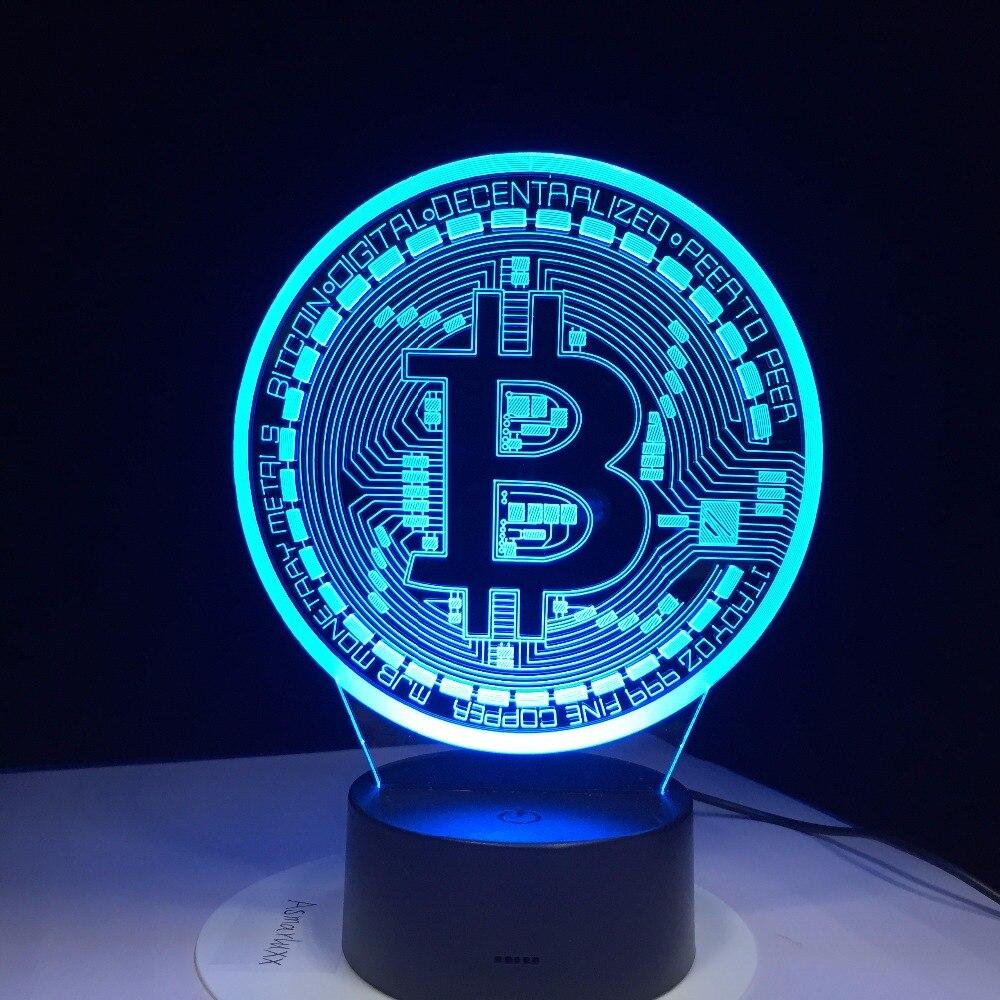 3D lampe à LED Bitcoin signe modélisation veilleuses 7 coloré Usb pièce de bureau lampe bébé chambre sommeil luminaire décor cadeaux