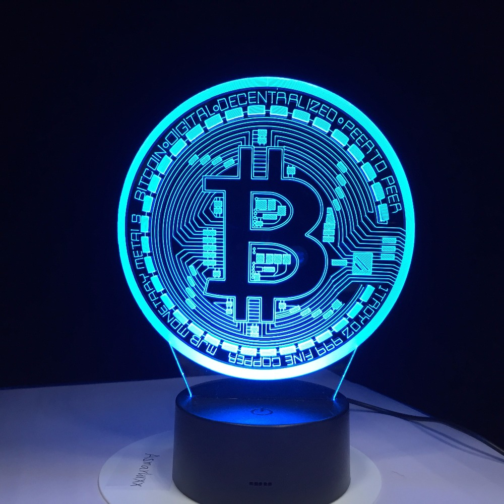 Lámpara Led 3D Bitcoin Sign modelado luces nocturnas 7 colores Usb moneda escritorio lámpara bebé dormitorio dormir iluminación accesorio decoración regalos