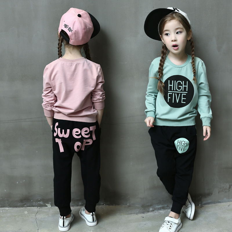 Children 2 sets of sweaters and letters casual pants 2017 autumn models children of rhatlan