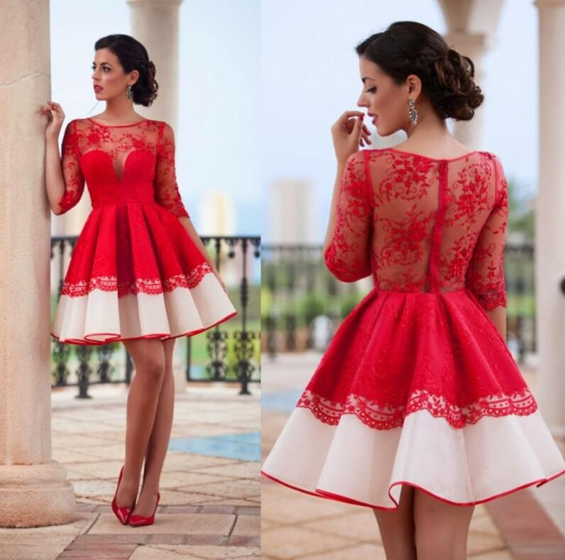 Charming Red Homecoming Dresses 2017 Short Lace Top Half Sleeve ...