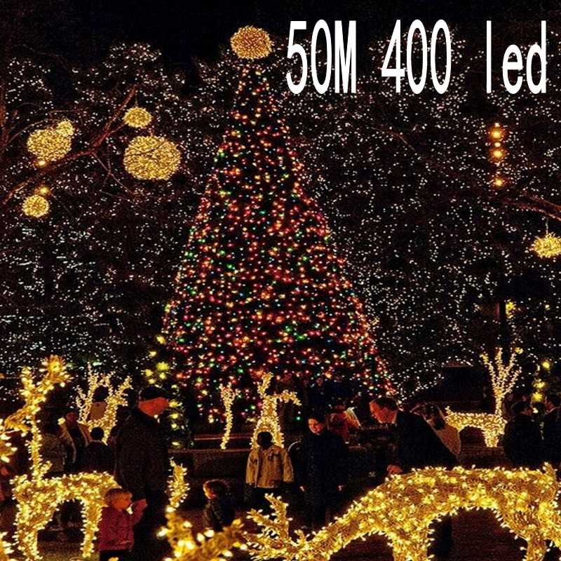 NEW String Light 50M 400 LED Christmas/Wedding/Party Decoration Lights 220V outdoor Waterproof led lamp 9 Colors 10 pcs dhl 48 leds free shipping rgbw multi colors waterproof battery rechargeable outdoor decoration led lights for party