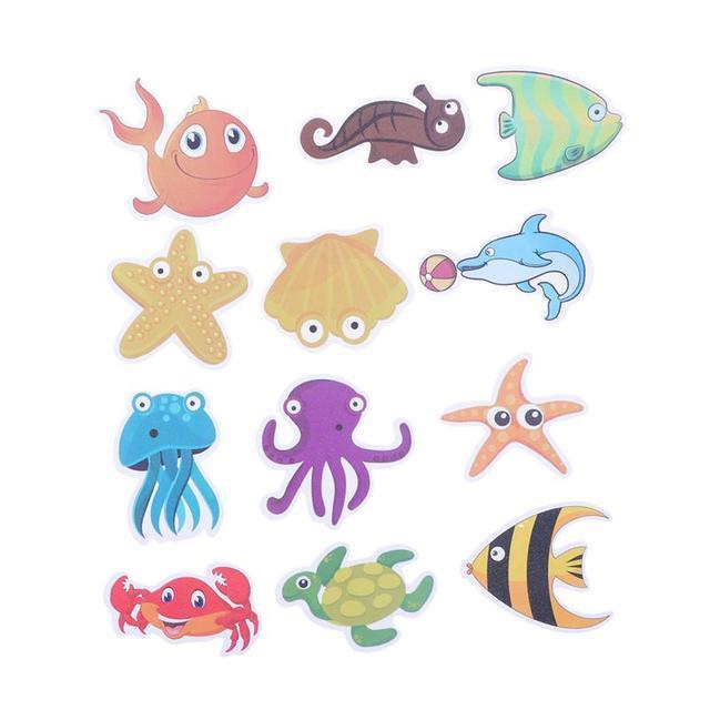12 قطعة الكائنات البحرية المضادة للانزلاق الحمام ملصق الذاتي لاصق ملصق الشارات ل حمام حوض الاستحمام الأسطح