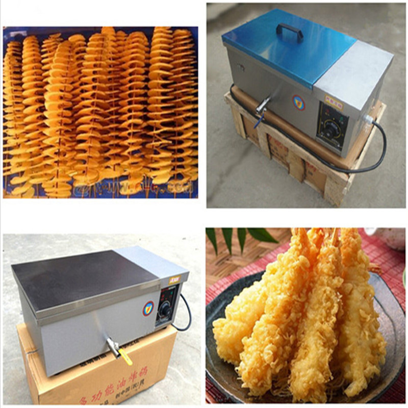 2017 commercial stainless steel electric deep fryer tornado potato churros frying machine hy81 hy82 6l 12l stainless steel electric deep oil fryer potato chip fryer