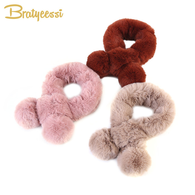 Fashion Faux Fur Kids Scarf Soft Warm Baby Winter Scarf Pompom Adjustable Toddler Scarfs 6 Colors 60 cm