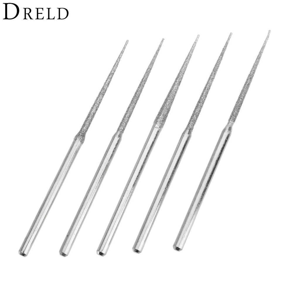 5Pcs Dremel Accesories Mini Drill Diamond Grinding Head 3mm Shank Bur Bit Set Grinding Tool For Rotary Tool Trigonometric Tip