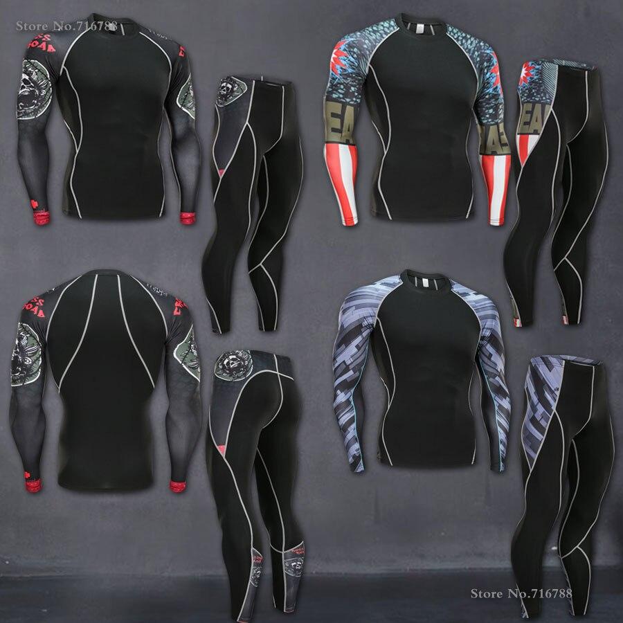 Men Fitness Clothing Set Fashion Superman Tracksuit Set Plus Size Brand Clothing Sportswear Sets 3D Print Full Compression Sets