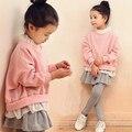 Буэнос Ninos девочек 2-14 лет плюс бархат наборы розовый batwing рукавом кофты + оборками серые брюки для осень-зима 40