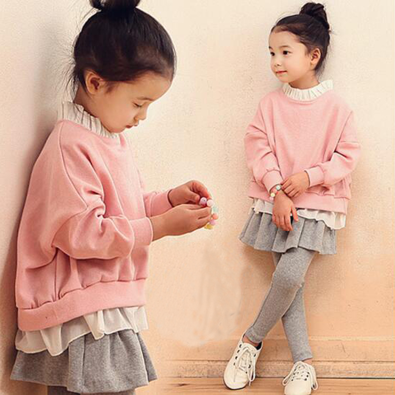 Buenos Ninos girls 2-14 years old plus velvet sets pink batwing sleeve sweatshirts+ruffles grey pants for autumn winter 40 buenos ninos серый номер l