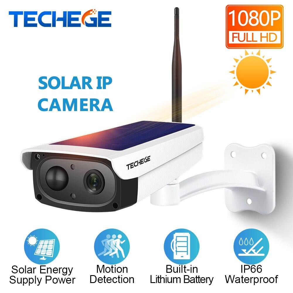 Techege 1080 P HD caméras de surveillance Étanche Sécurité Extérieure batterie solaire Caméra thermomètre à lait Audio PIR Motion