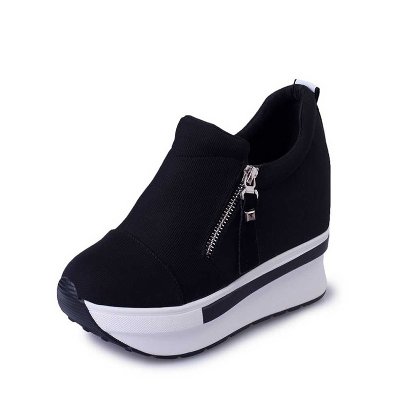 2018 new spring autumn fashion platform shoes with zip casual sweet sneakers shallow women shoes size 35-40