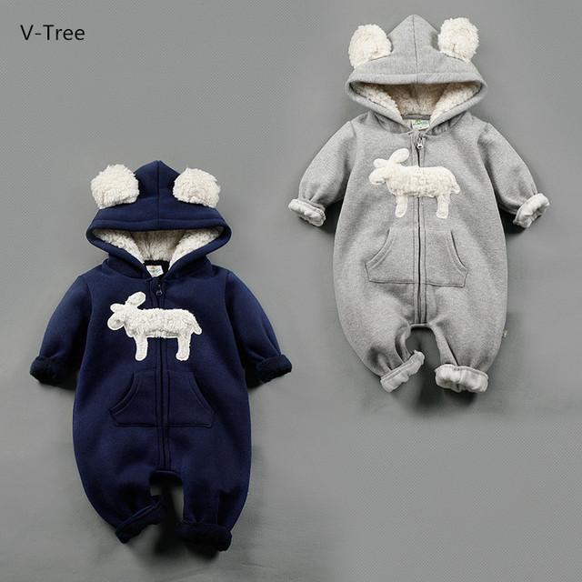 Inverno Bebê Crianças Manga Comprida Macacão Acolchoado Menino & Menina Quente Grossa Com Capuz Casaco Outerwear Geral Veados Crianças Recém-nascidas Sleepwear