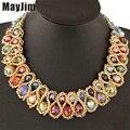 Collar de cadena de oro collar de moda declaración para las mujeres 2016 de la vendimia grande doble bead crystal choker collares y colgantes de bisutería
