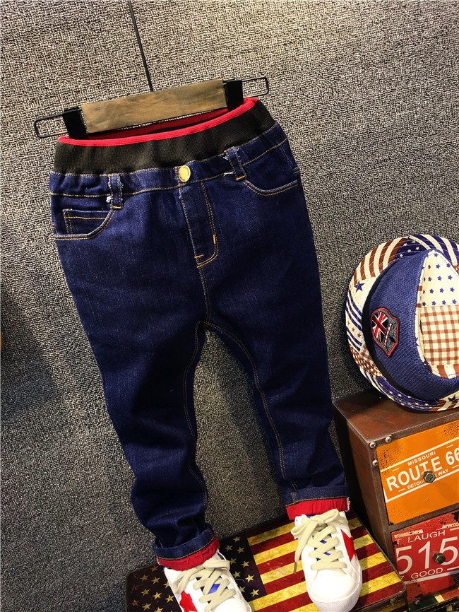 children boy autumn winter fleece warm jeans pants