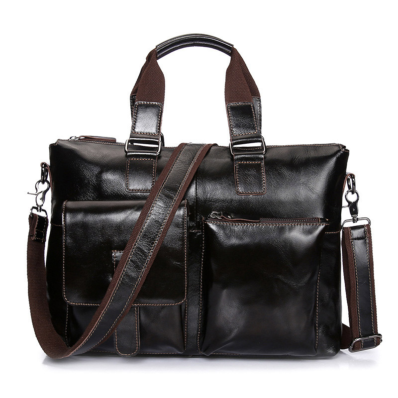 Vintage Genuine Leather Business Briefcase Men's Handbag Shoulder Bags Messenger Bag 14 inch Laptop Computer Bag Dark Coffee new high quality male leather men laptop briefcase bag 14 inch computer bags handbag business bag single shoulder business bags
