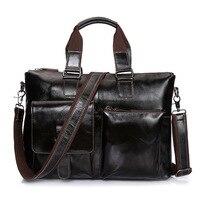 Vintage Genuine Leather Business Briefcase Men's Handbag Shoulder Bags Messenger Bag 14 inch Laptop Computer Bag Dark Coffee