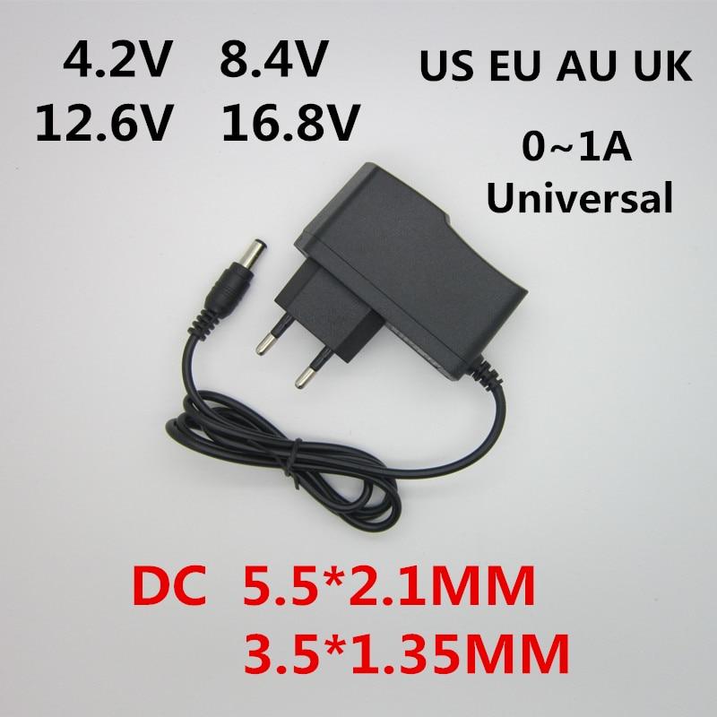 AC 100-240 В DC 4,2 в 8,4 в 12,6 в 16,8 в 1A зарядное устройство адаптер питания 4,2 в 8,4 в 12,6 в 16,8 в 18650 мА для литиевой батареи