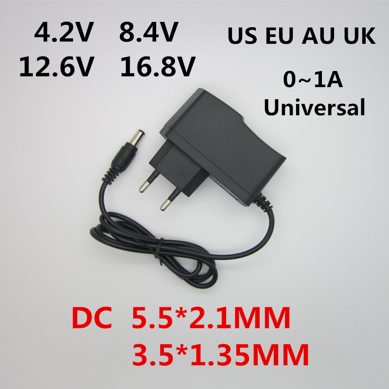 AC 100-240V DC 4,2 V 8,4 V 12,6 V 16,8 V 1A Зарядное устройство Мощность адаптер питания 4,2 8,4 12,6 16,8 V 1000MA для 18650 литий-ионный аккумулятор для Батарея